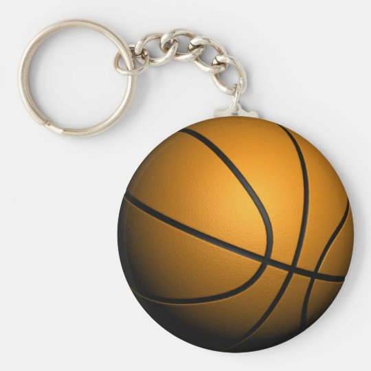 3D Basketball Basic Round Button Key Ring