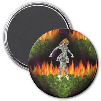 3D Biomechannequin Seamless Fire & Candycorn Refrigerator Magnet