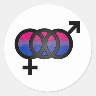 3D Bisexual Symbol Classic Round Sticker