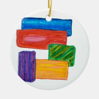 3D blocks Ceramic Ornament