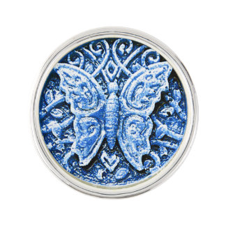3d blue and white butterfly lapel pin
