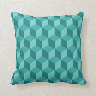 3D Blue Geometric Cube Pattern Cushion