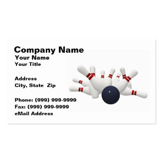 3D Bowling Ball Striking Pins (on White BG) Business Card Templates
