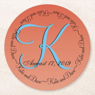 3d Bronze Circular Monogram Round Paper Coaster