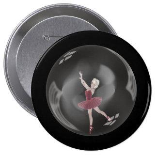 3D Bubble Ballerina 3 Pinback Buttons