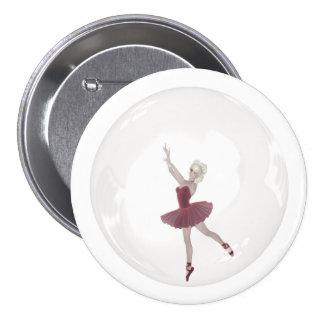 3D Bubble Ballerina 3 Pinback Button