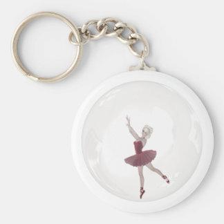 3D Bubble Ballerina 3 Basic Round Button Key Ring