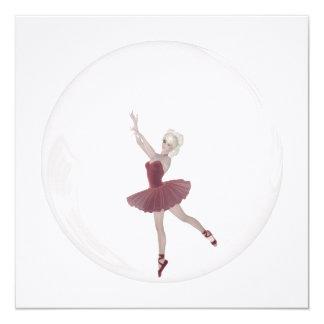 3D Bubble Ballerina 3 Custom Invites