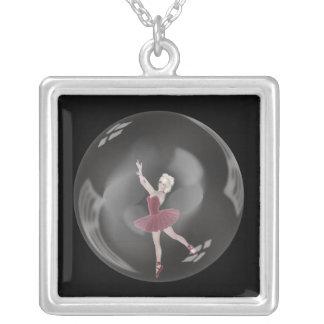 3D Bubble Ballerina 3 Square Pendant Necklace