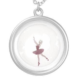 3D Bubble Ballerina 3 Round Pendant Necklace