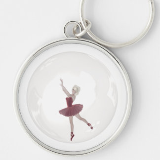 3D Bubble Ballerina 3 Silver-Colored Round Key Ring