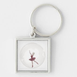 3D Bubble Ballerina 3 Silver-Colored Square Key Ring