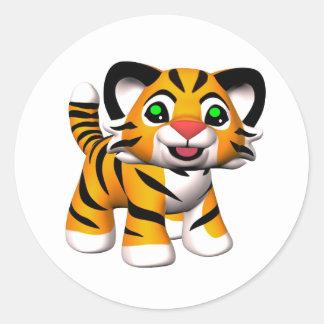 3D Cartoon Tiger Cub Classic Round Sticker