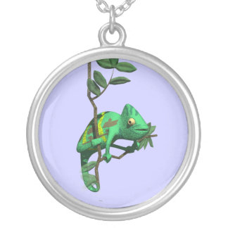 3D Chameleon Silver Plated Necklace
