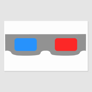 3D Cinema Glasses Rectangular Sticker