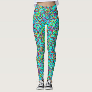 3D Circles on Turquoise Background Leggings