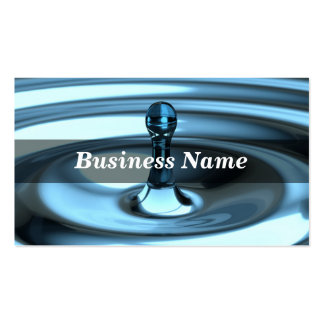 3D Closeup of Perfect Blue Water Drop Business Card Templates