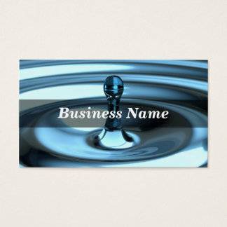 3D Closeup of Perfect Blue Water Drop Business Card