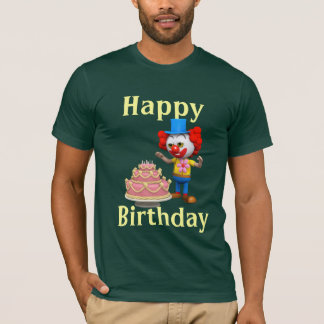 3d Clown Happy Birthday Cake design T-Shirt