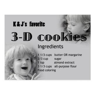 3D cookie recipe Postcard