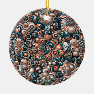 3D Copper And Blue Abstract Ceramic Ornament