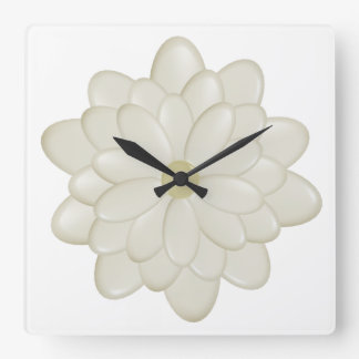 3D Cream Daisy Flowers Large Square Wall Clock