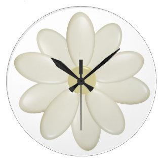 3D Cream Daisy (Large) Wall Clock