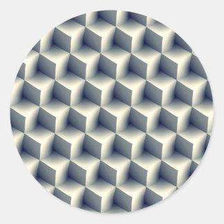 3D Cubes Pattern Classic Round Sticker