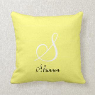 3D Diamond Lemon Yellow Monogrammed Pillow
