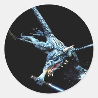 3D Dragon Jedi Round Sticker