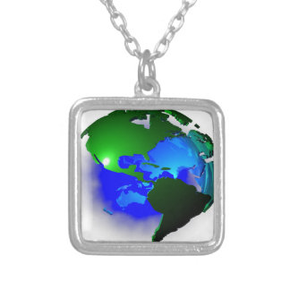 3d earth silver plated necklace