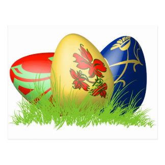 3D easter eggs in grass Postcard