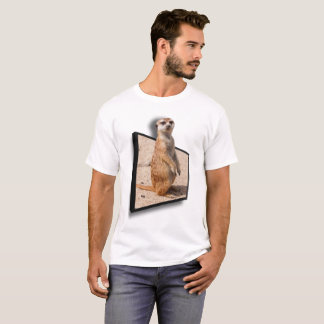 3D EFFECT  Curious Meerkat Popping Up Out Of Frame T-Shirt