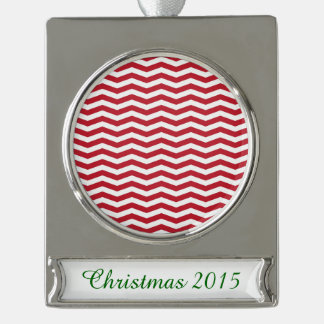 3D Effect Red Holiday Zigzag Pattern Silver Plated Banner Ornament
