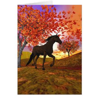 3d Fall Horse Card