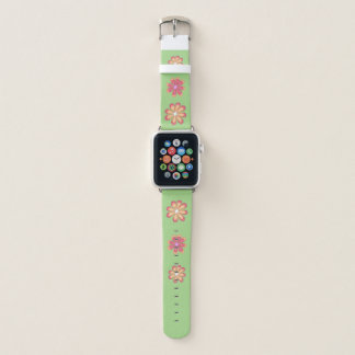 3D Flowers on Lime Apple Watch Band