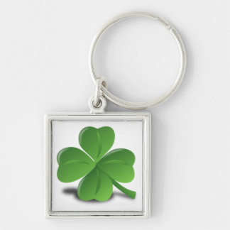 3D Four Leaf Clover Silver-Colored Square Key Ring