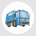 3d Garbage Truck Blue Round Stickers