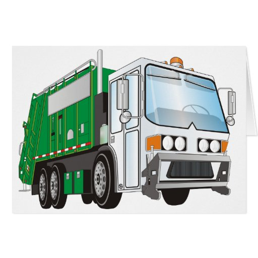 3d Garbage Truck Green White Cab Greeting Card