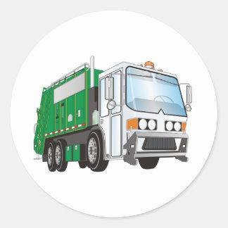 3d Garbage Truck Green White Cab Round Sticker