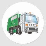 3d Garbage Truck Green White Cab Round Stickers