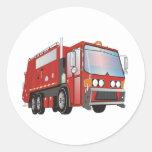 3d Garbage Truck Red Round Stickers