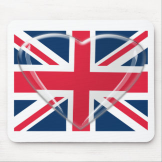 3D Glass Heart and Union Jack Flag Mouse Pad