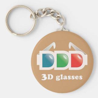 3D glasses Basic Round Button Key Ring