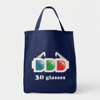 3D Glasses Grocery Tote Bag