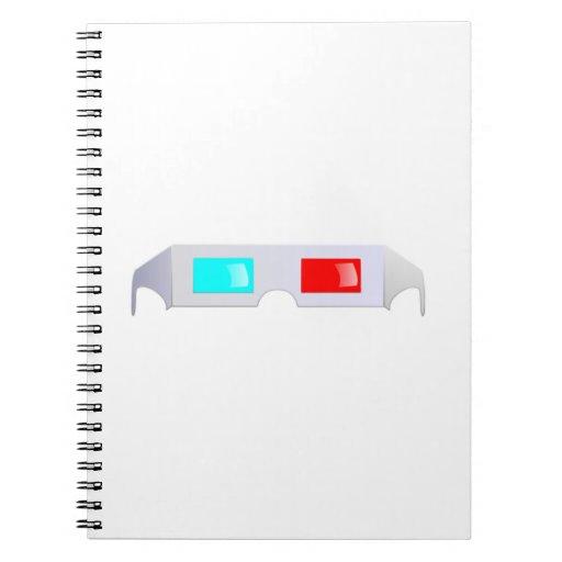 3D Glasses Spiral Notebooks