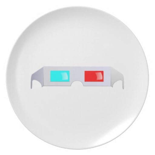 3D Glasses Dinner Plate