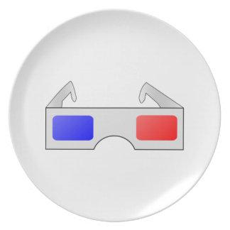 3D Glasses Dinner Plates