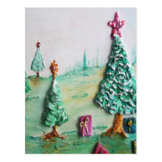 3D GLITTER L@@K of Christmas Trees and Gifts Postcard