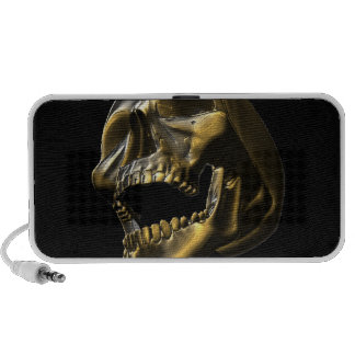 3D Gold Open Mouth Skull Doodle Speaker